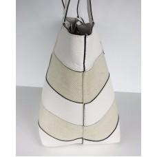 Michael Kors Stripe Canvas Large East West Tote bag tassel natural white