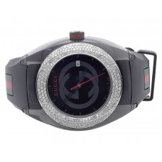 Custom New Mens Gucci Sync 46MM Pave Set Diamond Watch 3.5 Ct YA137101