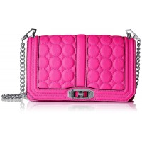 Rebecca Minkoff Love with Circle Quilt Cross Body, Neon Pink, One Size